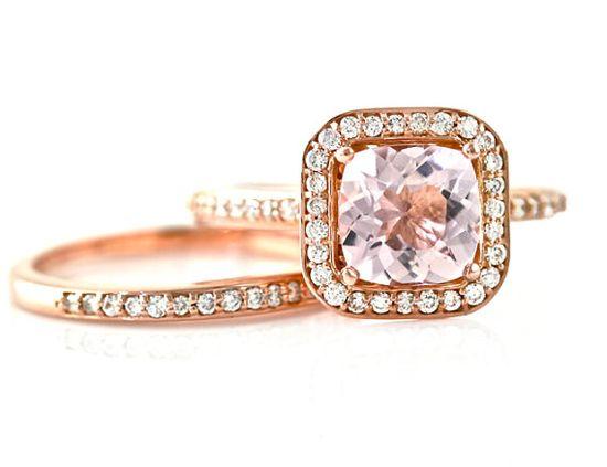 14K Cushion Morganite Ring Morganite Engagement Ring by RareEarth, $1529.00