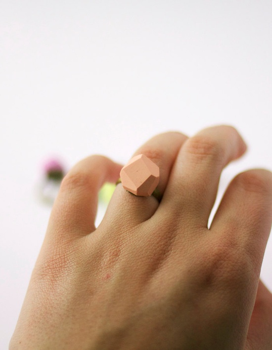 pale peach geo ring by amerrymishap on Etsy