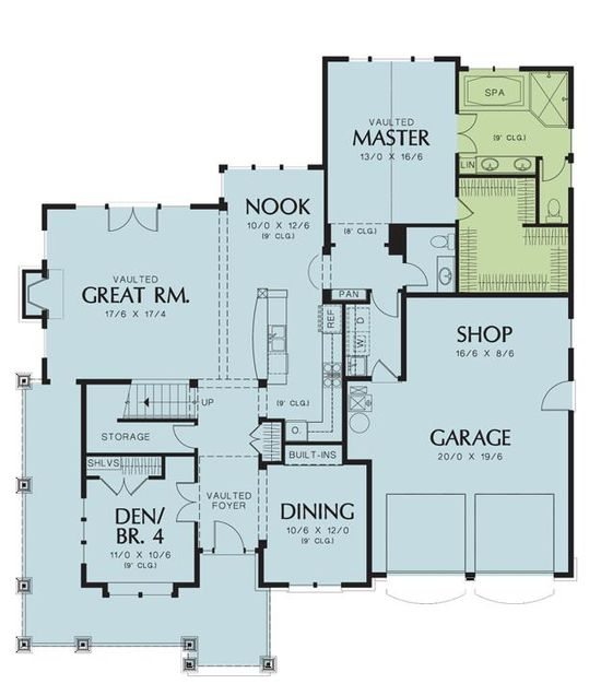 Aside from the inconvenience of having to walk down through the foyer to get from kitchen to dining, I kinda like this floor plan. (1st Floor)