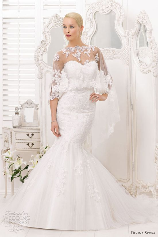 divina sposa bridal 2013 cape mermaid wedding dress