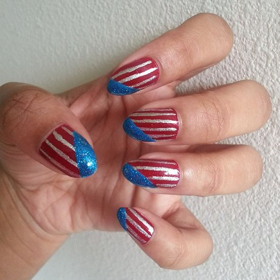 sarah_leigh003's festive tips. Show us your 4th of July-inspired nails! Tag your pic #SephoraNailspotting to be featured on our social sites.