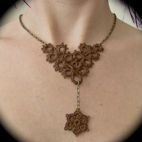 Tatted Lace and Chain Necklace Flower Fall Brown and by TotusMel