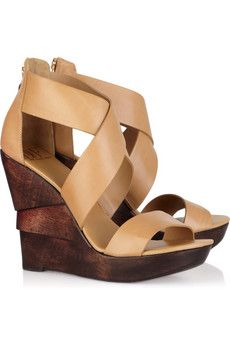 opal leather wedge sandals by dvf $295