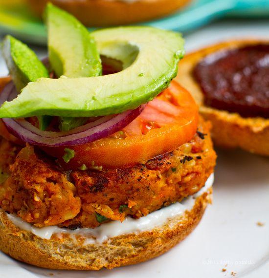 Sweet Potato Veggie Burgers: BBQ Peanut. by healthyhappylife  #Veggie_Burger #Vegan