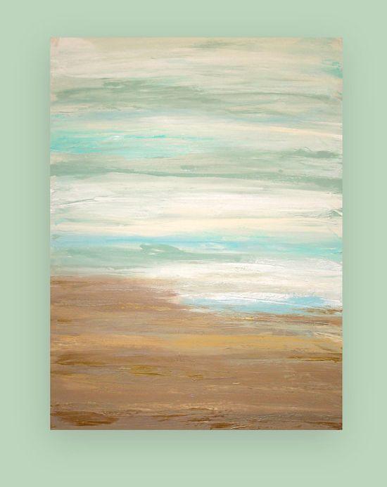 Abstract Art inspiration - Coastal Abstract Acrylic Painting Fine Art by OraBirenbaumArt