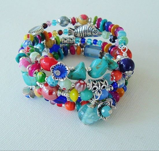Boho Bracelet Bohemian Jewelry Colorful Layered by BohoStyleMe