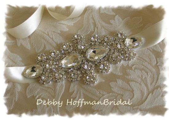 Bridal Wedding Head Piece, Crystal Rhinestone Bridal Ribbon Headband No. 1181HB - Made to order Wedding Hair Accessory. $54.00, via Etsy.