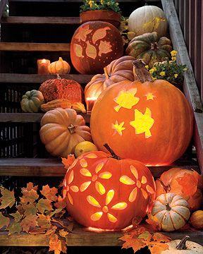 Love the arrangement of pumpkins and leaves.