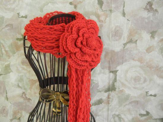 Crochet Lariat Flower Scarf - Red Crochet Scarf