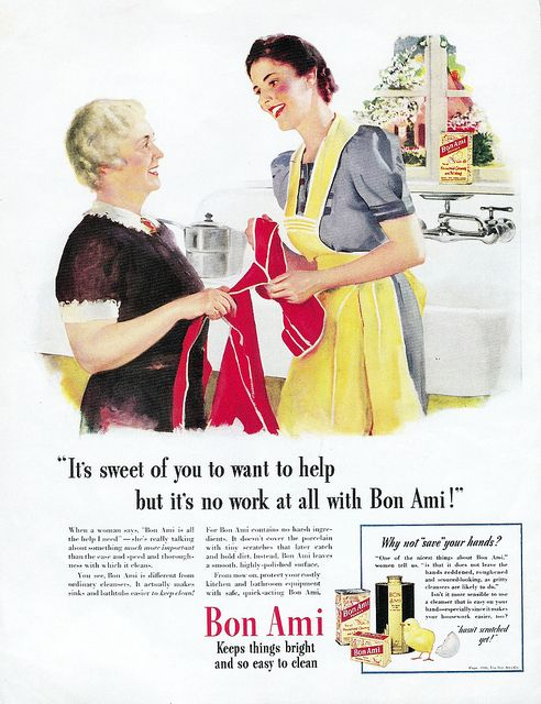It's no work at all with Bon Ami! #vintage #ads #1940s #homemaker