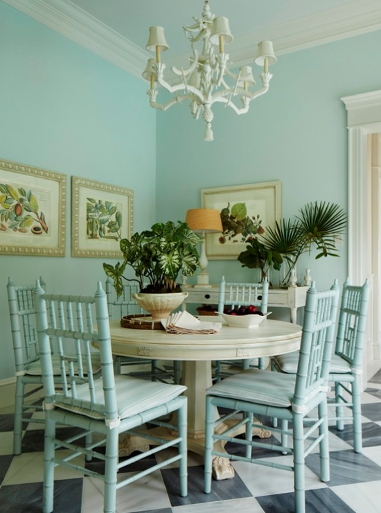 Love the aqua color on the chairs & wall