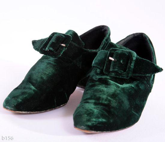 Vintage Kelly Green Velvet Shoes