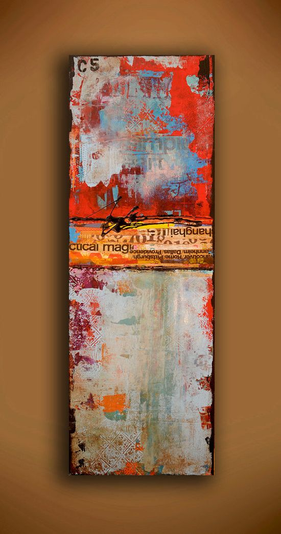 Painting ABSTRACT ART mixed media on wood by erinashleyart