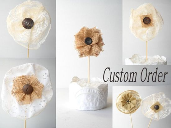 6 Custom Made Fabric Flowers/ Wedding Table by AlteredEcoDesigns, $22.00