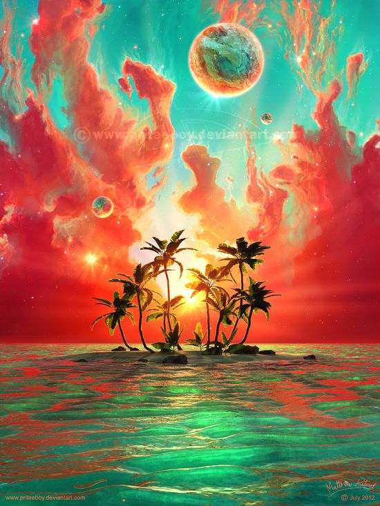 Summer Paradise by priteeboy.deviant... on @deviantART  - Simply beautiful. It makes me wish it wasn't a painting.