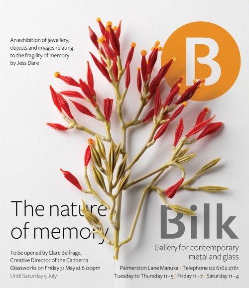 The Nature of Memory: an exhibition of jewellery, objects and photographs relating to the fragility of memory by Jess Dare – Friday 31 May until 5 July 2013 - Bilk Gallery - http://bilkgallery.wordpress.com/