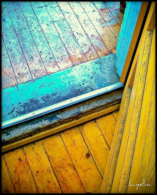 old, painted, wood floors