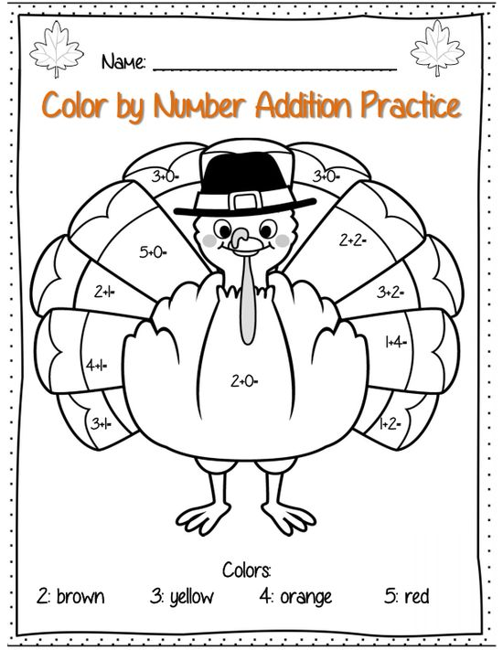 Thanksgiving addition color by number page, part of 22 page packet for 1st grade!