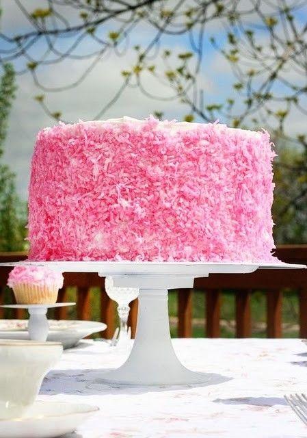 Like a giant pink Hostess Snowball! :) #cake #pink #coconut #birthday #wedding #food #dessert