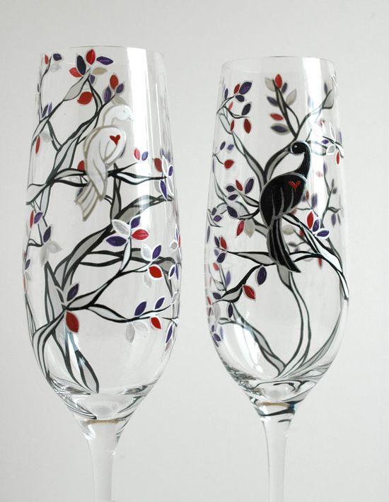 Black and White Wedding Birds by MaryElizabethArts