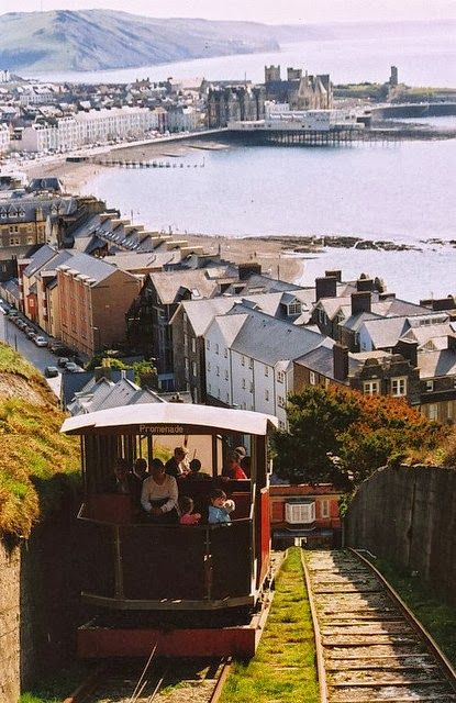 Cliff railway, Aberystwyth, Wales. Sea-side resort in north Wales.