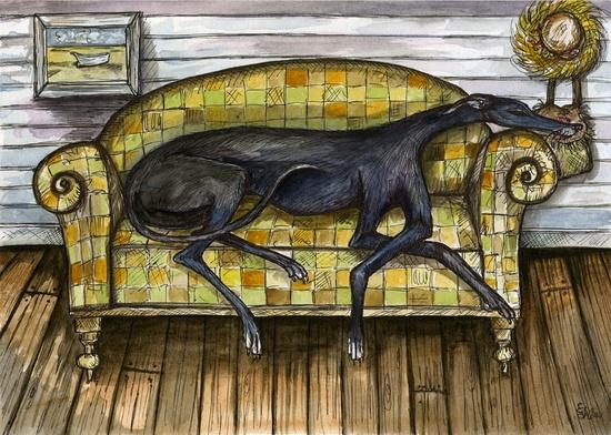 Greyhound Art - A Little Wondering - Greyhound Dog Print. £15.00, via Etsy.