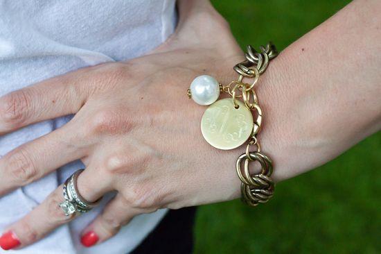 Bracelet- Gold Pearl Monogram Bracelet