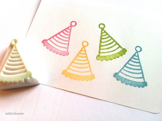 party hat rubber stamp designed and hand carved by talktothesun. available on www.talktothesun....
