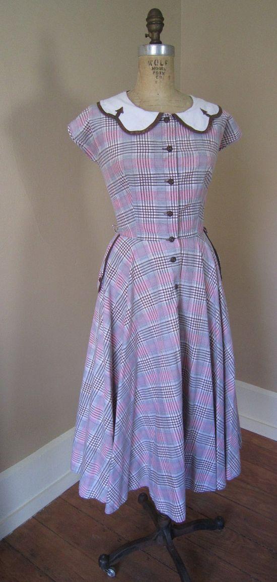 1940s WESTERN SWING Pink Brown Plaid Windowpane Checks 40s Day Dress Art Deco NOVELTY Arrows. $140.00, via Etsy.