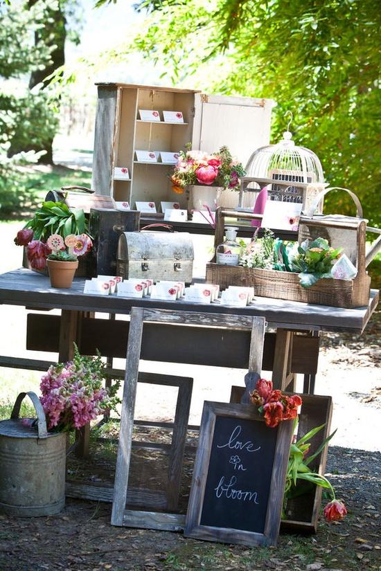 backyard wedding reception welcome table