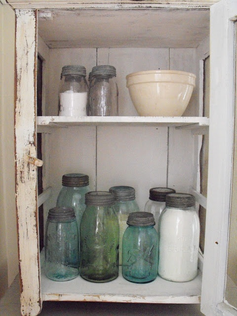 I have these Jars from an old pie safe in my ex-mother-in-laws summer kitchen.....Nice..