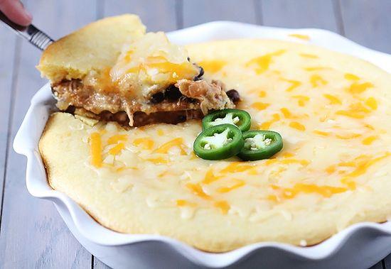 Simple Enchilada Cornbread Pie