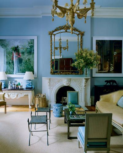 In the music room of Mila and Tom Tuttle's 1836 Greek Revival townhouse in Manhattan, designed by Miles Redd.