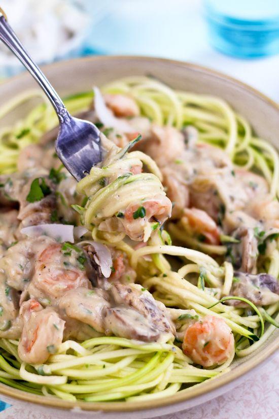Creamy Shrimp On Zucchini Pasta
