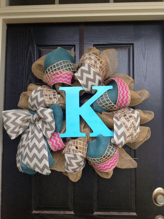 Chevron Grey, Turquoise, and Hot Pink Monogram Wreaths