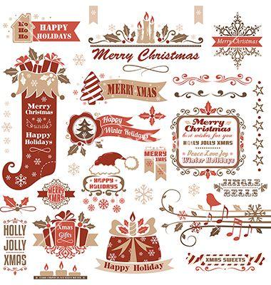 Set of christmas decorative elements vector - by ksana-gribakina on VectorStock®
