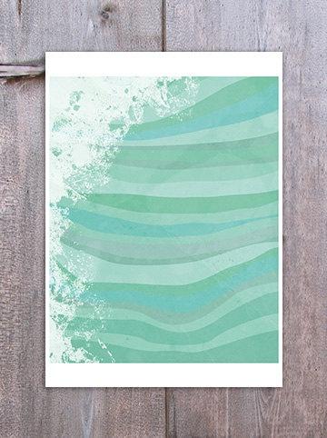 Abstract Waves Wall Art Digital Print Blue Green by revigorer, £12.00