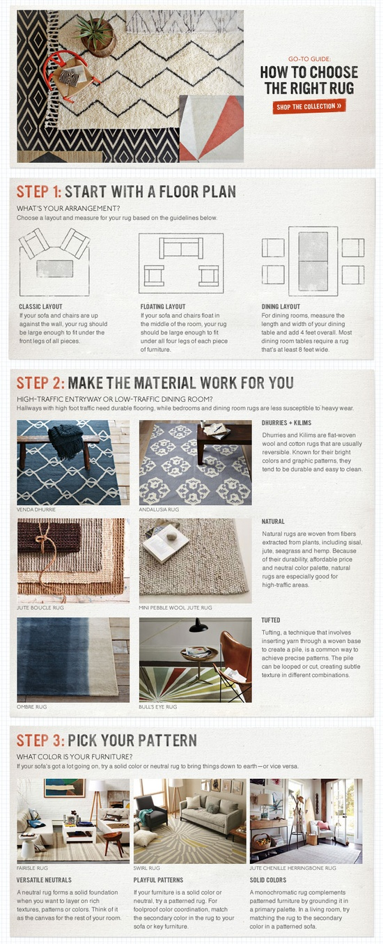 How to Choose the Right Rug by westelm  #Interior_Design #Rug #westelm