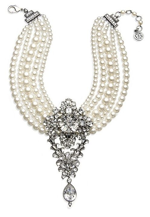Pearls and diamonds necklace www.finditforwedd...