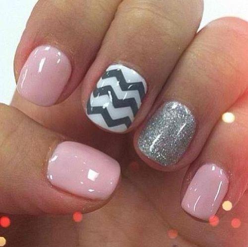 So cute and girly!!! I love the accent nail!! This ...