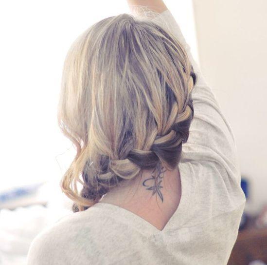 side french braid into a low side braid hair tutorial