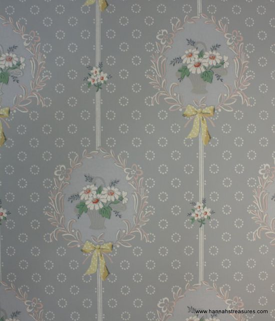 1930's+Vintage+Wallpaper+Blue+with+white+daisy+by+HannahsTreasures,+$14.00