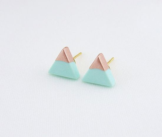 Mint - Rose Gold Dipped Triangle Stud Earrings on Etsy, $10.00