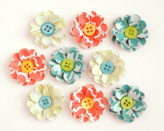 HANDMADE Paper FLOWERS with BUTTON Centers - inspiration only - bjl