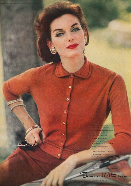 Such a beautiful, timeless autumnal palette. #vintage #fashion #cardigan #1950s #orange