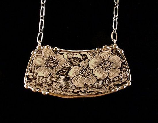 Broken china jewelry necklace antique black and white English transferware floral toile china