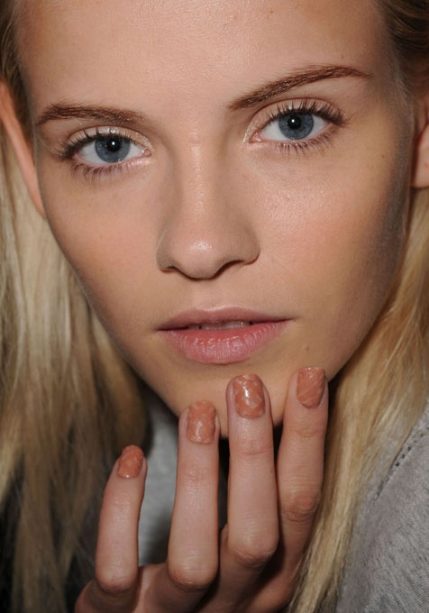spring beauty trend: nude nail art as seen at rodarte