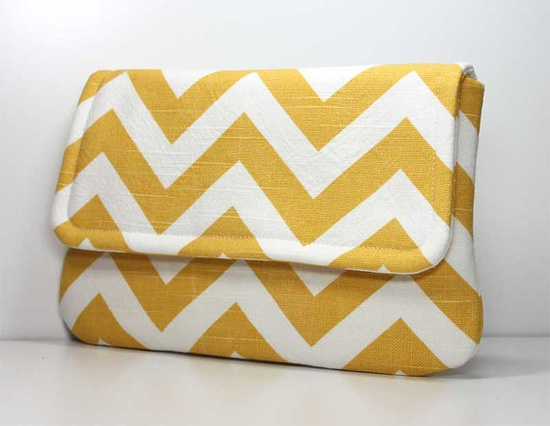 Yellow and White Chevron Clutch - $25.00 from Ocean Pearl Bags