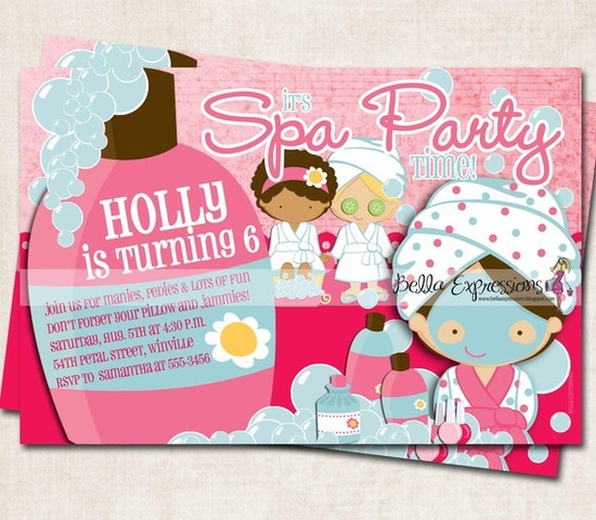 Spa Party Birthday Party Invitation pink blue bubbles Digital File you-print
