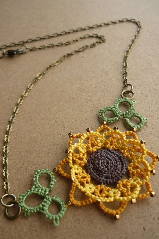 Sunflower tatted lace necklace.